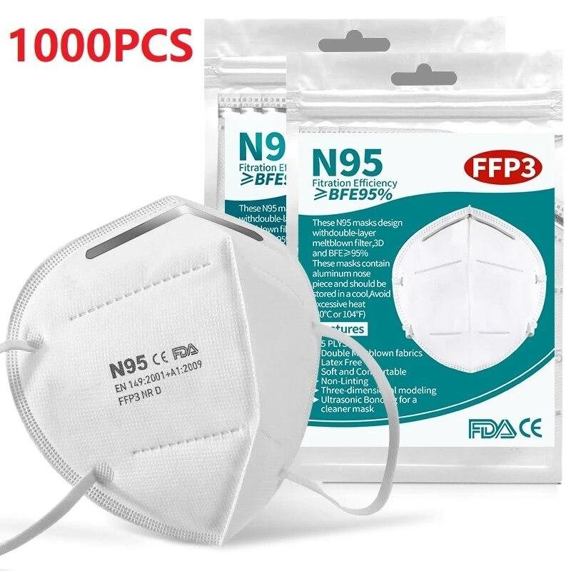 2000Pcs maske 95% filter gesicht mascarilla anti-staub atemschutz 5 schichten filte mund mascarilla mondkapjes
