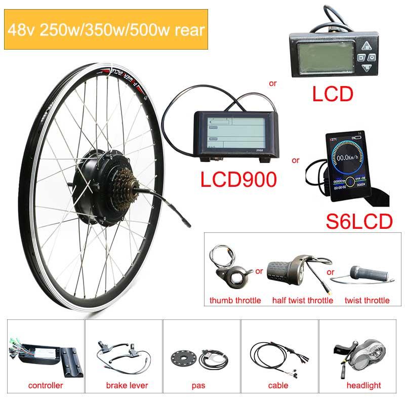 JS Kit de conversión de bicicleta eléctrica de 48V 250W 350W 500W...
