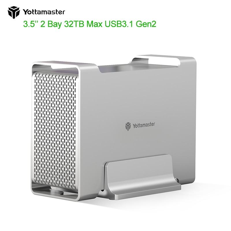 Yottamaster DR2RC3-35 HDD/SSD Case SATA3.1/3.2 Gen2 10Gbps Max UASP 32TB Max Type-C hard disk External Raid Hard Drive Enclosure