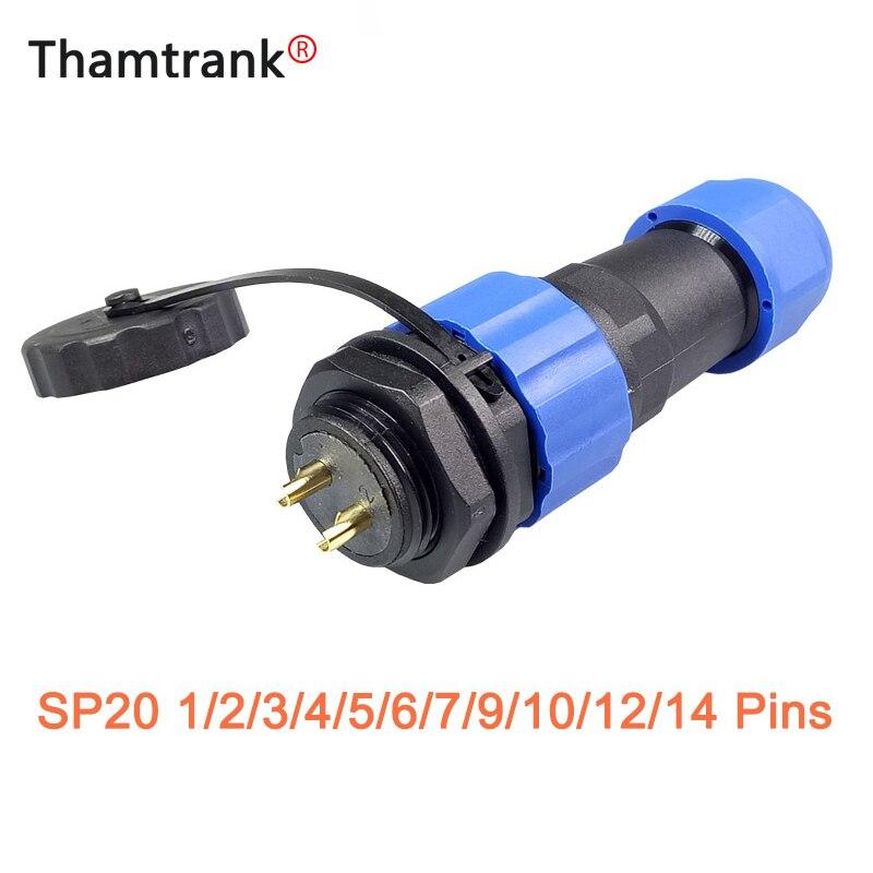 10 juegos SP20 conector de aviación a prueba de agua 2/3/4/5/6/7/8/9/12 pines IP68 20mm Cable de alimentación Circular macho enchufe hembra Jack Socket