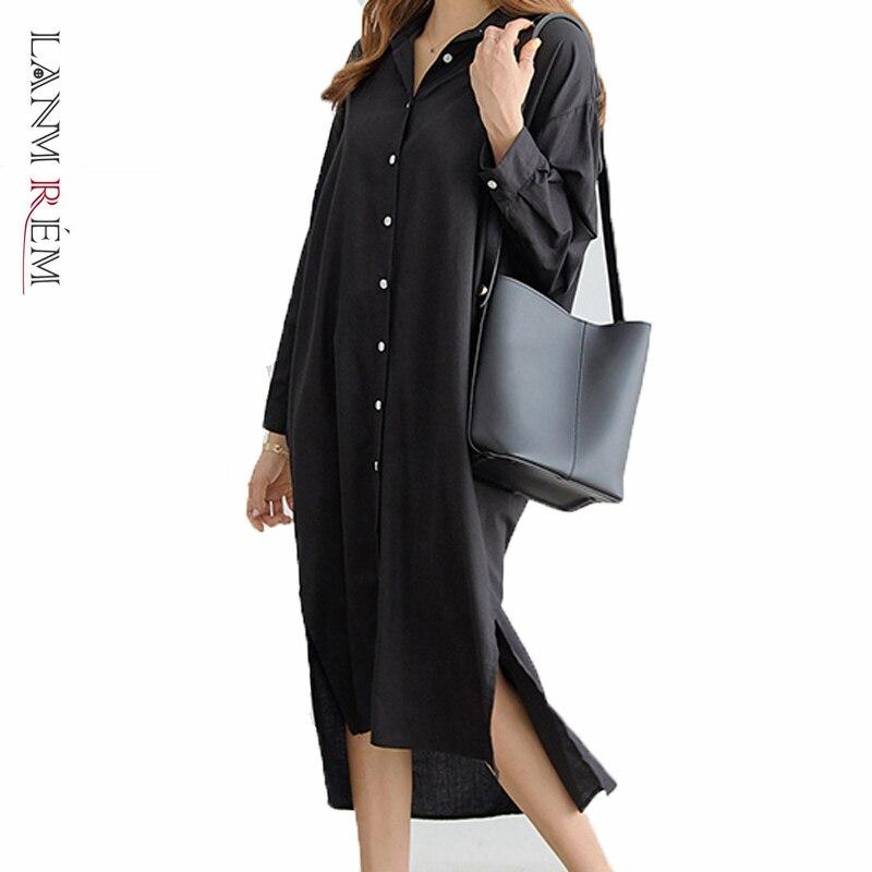 LANMREM 2020 NOVEDAD DE VERANO moda Casual temperamento mujeres suelto más Color sólido de manga larga vestido de camisa TC169