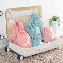 Cute Waterproof Storage Bags Clothes Shoes Underwear Travel Organizer Pouch Drawstring Cosmetic Bag