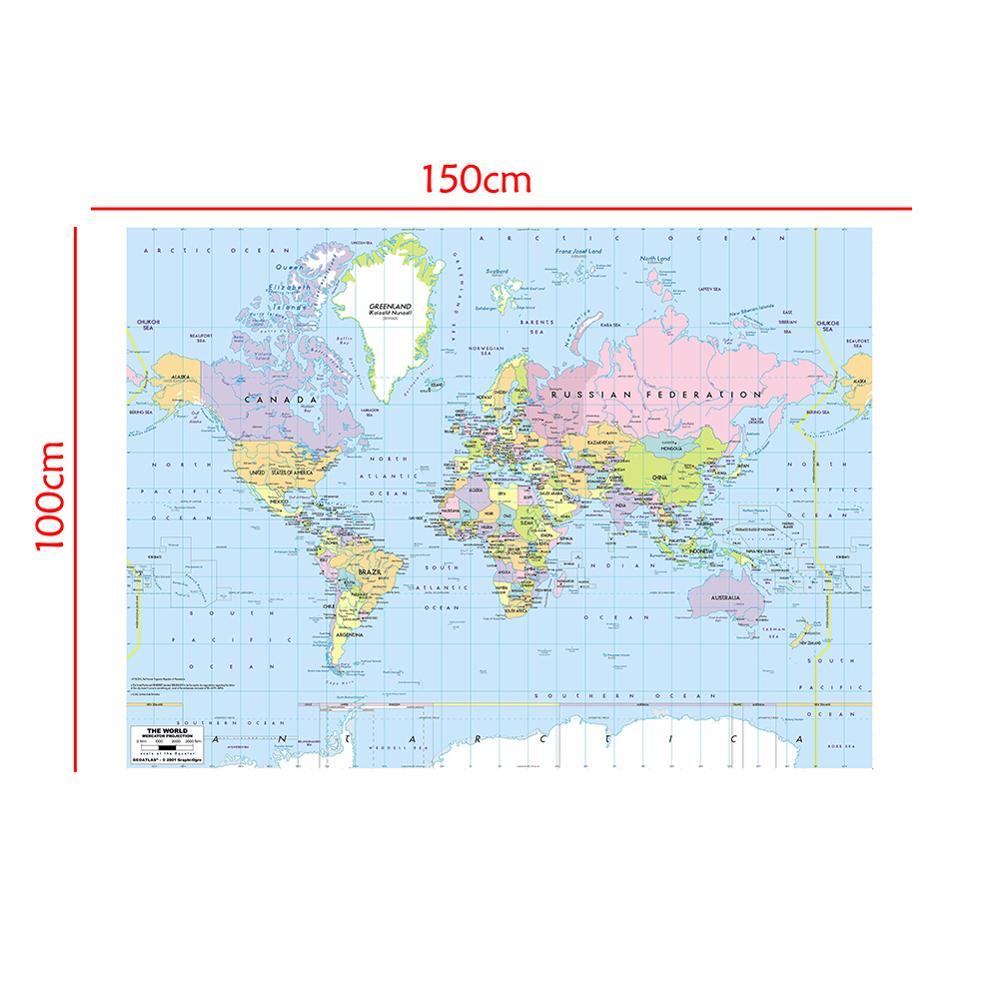 Proyección de mapa del mundo, mapa del mundo plegable sin bandera nacional,...