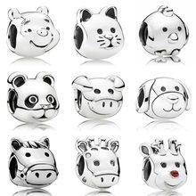 Animal Cat Dog Pig Pooh Bear Peaceful Panda Chicken Horse Fit Original Bracelet 925 Sterling Silver Bead Charm Jewelry Women