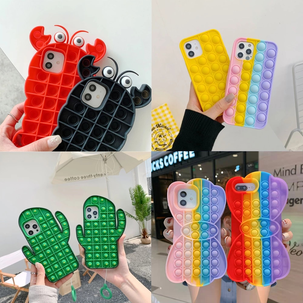 Fashion Back Cover Rainbow Color shockproof Fidget Toys Cases For iPhone 11 12 6 6s 7 8 Plus X XR XS Pro Max Reliver Stress TPU