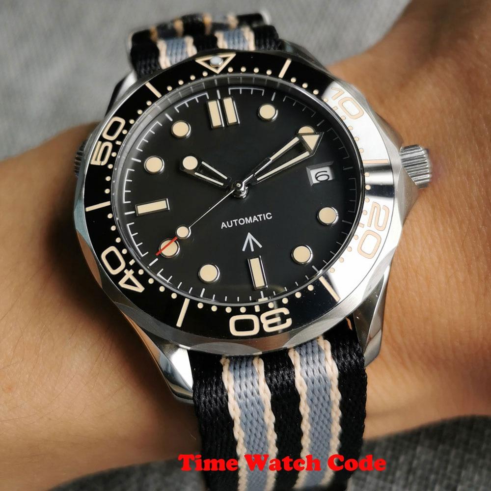 NH35/Miyota8215 الياقوت الرجال ساعة أوتوماتيكية تاريخ العقيمة الأسود الهاتفي الدخان الوجه النايلون الناتو حزام السيراميك الدورية الحافة 41 مللي مت...