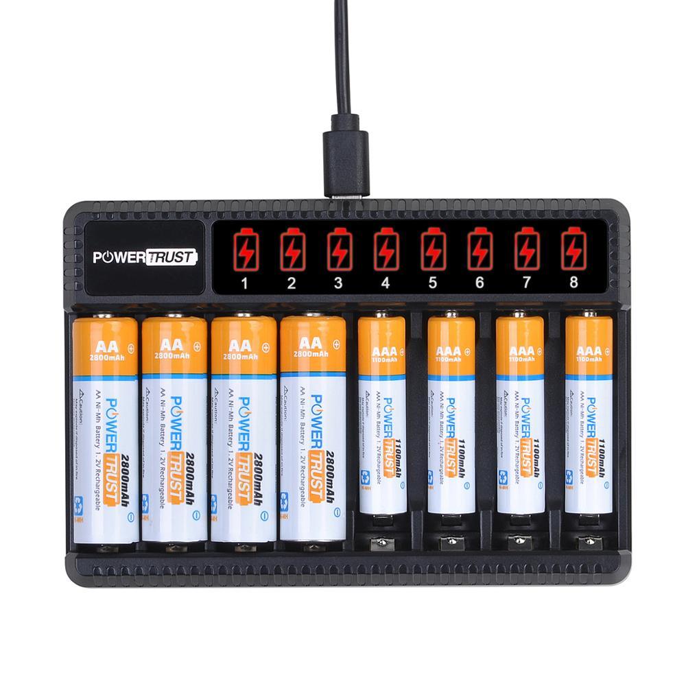 Аккумуляторные Батареи AA 2800 мА/ч + перезаряжаемые батареи AAA 1100 мА/ч с зарядным устройством на 8 слотов для AA AAA NiMH электрических игрушек