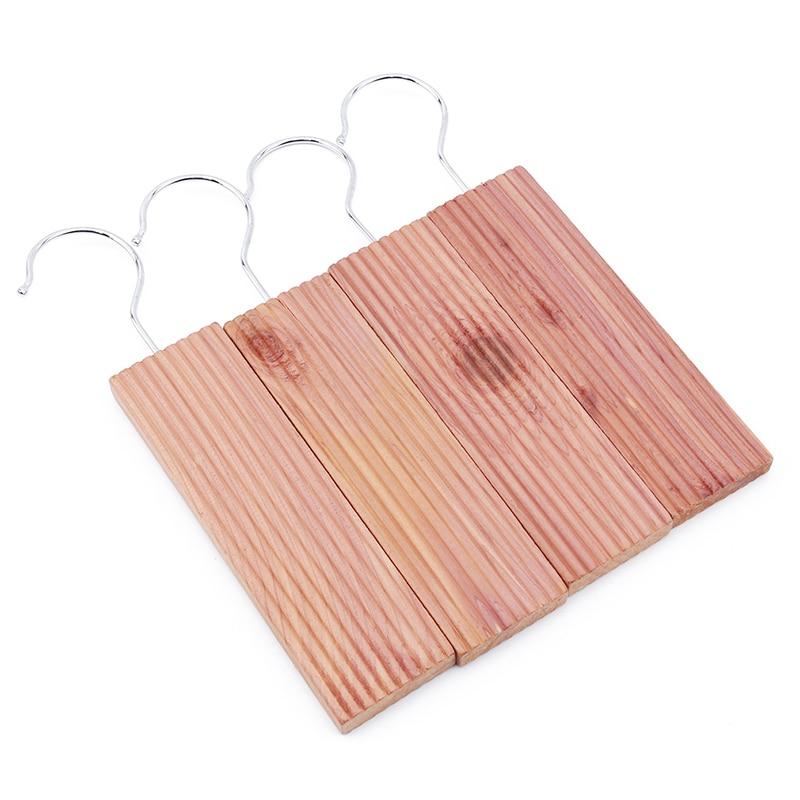 4 unids/pack gran oferta de madera Natural repelente de insectos antienvejecimiento de cedro gancho de armario de madera para armario y cajón