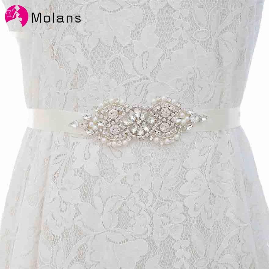 Molans boutique strass pérola miçangas cós para o vestido de casamento nupcial cinto de cristal arco com fitas de cetim faixa cinto