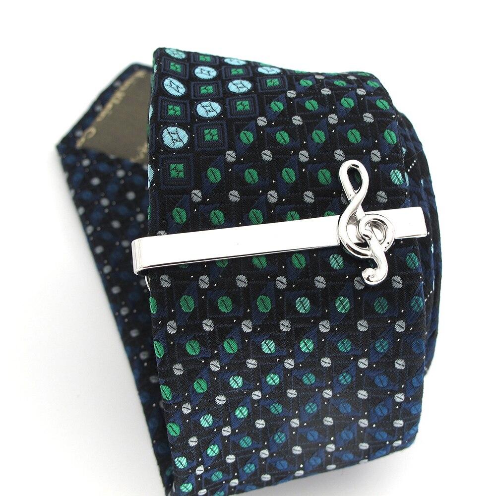 Clips de corbata de nota Musical de diseño novedoso para hombres Material de latón de calidad de Color plateado alfileres de corbata al por mayor y al por menor