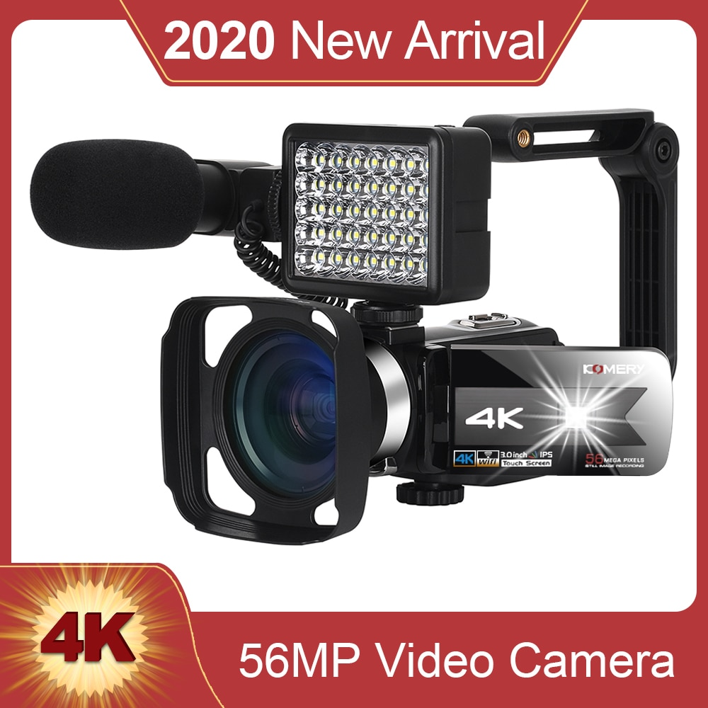 KOMERY New Release Video Camcorder 4K WiFi Night Vision 56MP Built-in Fill Light Touch Screen Vloggi