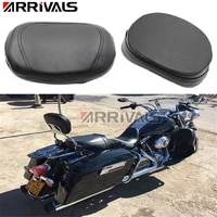 arrival motorcycle accessories universal black leather rear passenger backrest seat cushion pad for harley sportster dyna honda