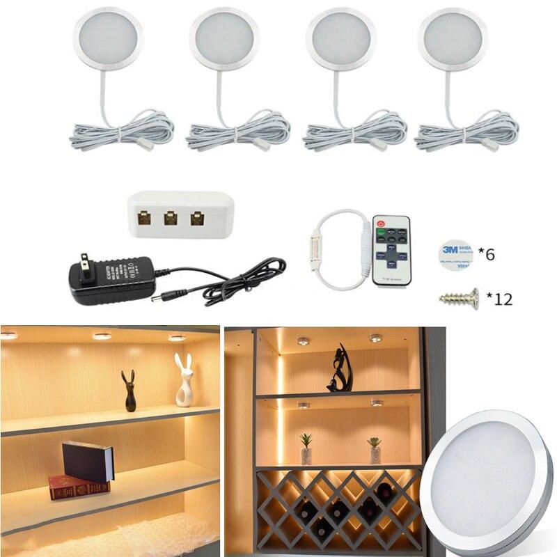 2 واط LED إضاءة الخزانة مع 12 فولت محول الطاقة اللاسلكية التحكم عن بعد تحت مصباح كابينة المطبخ ديكور المنزل خزانة خزانة