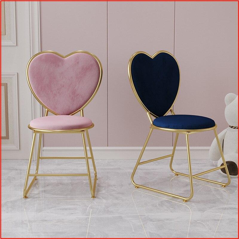 Стул под раковину в форме сердца, обеденный стул в скандинавском стиле, легкое роскошное седло со спинкой, мебель, обеденные стулья, стул для...