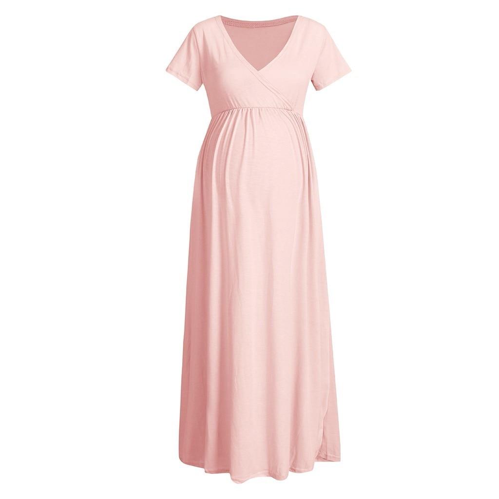 2021 Women's Pregnancy Fashion elegant V-neck Short Sleeve Dress Maternity maternity dresses for photo shoot pregnant clothes enlarge