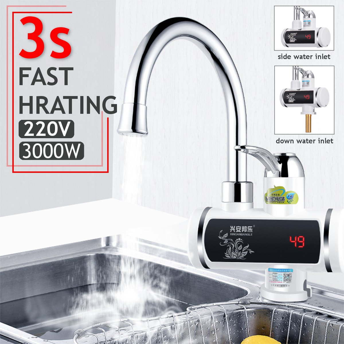 سخان مياه كهربائي s 220 فولت 3000 واط لحظة صنبور كهربائي المنزل المطبخ الساخن الباردة سخان مياه خلاط صنبور المطبخ الحمام تركيبات