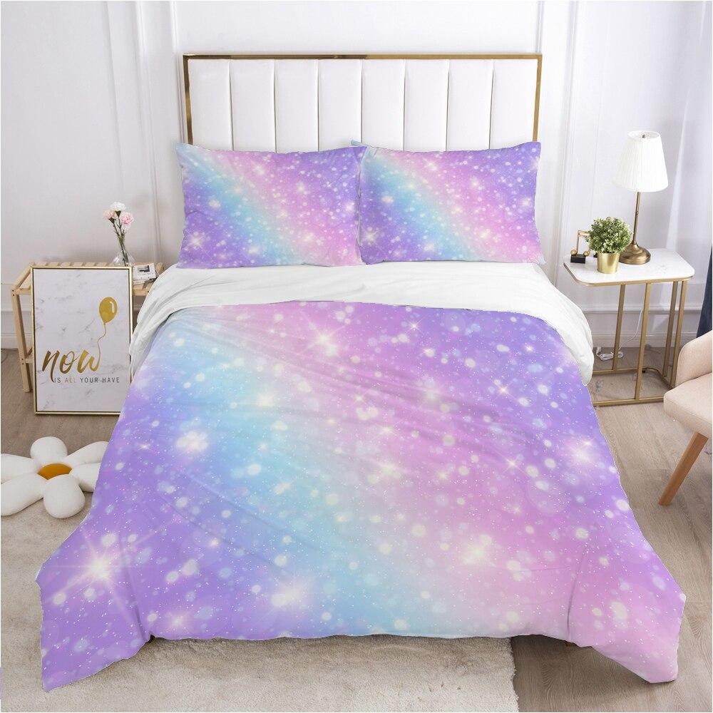 طقم سرير ملون الملكة الملك كامل مزدوج حاف مجموعة غطاء كيس وسادة بياضات سرير غطاء لحاف 240x220 140x200 الملونة ستار