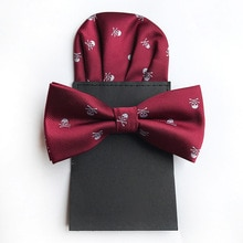 2PCS Elegant Men Jacquard Arrow Bow Tie Set Skull Bowtie Groom Business Wedding Party Necktie Pocket Square Handkerchief Hanky