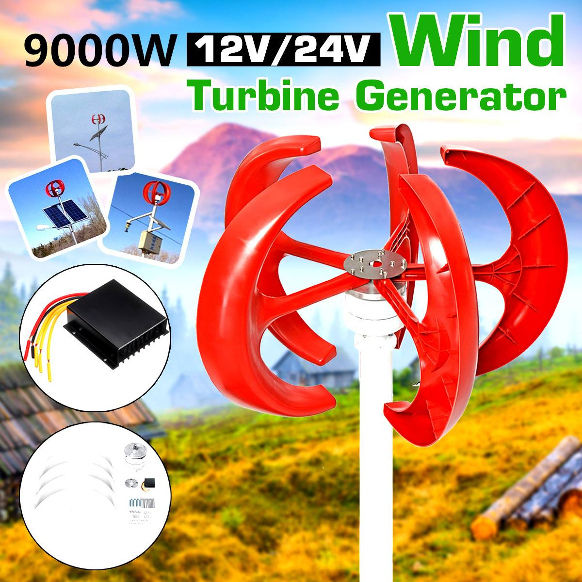 9000W Vertical Axi Wind Turbines Generator Lantern 12V 24V 5 Blades Motor Kit For Home Hybrids Streetlight Electromagnetic
