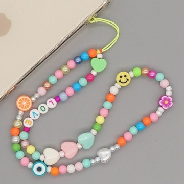 Bohemian Acrylic Mixed Color Smiley Face Round Beads Telephone Lanyard Color Fancy Five-Pointed Star Mobile Phone Chain Jewelry