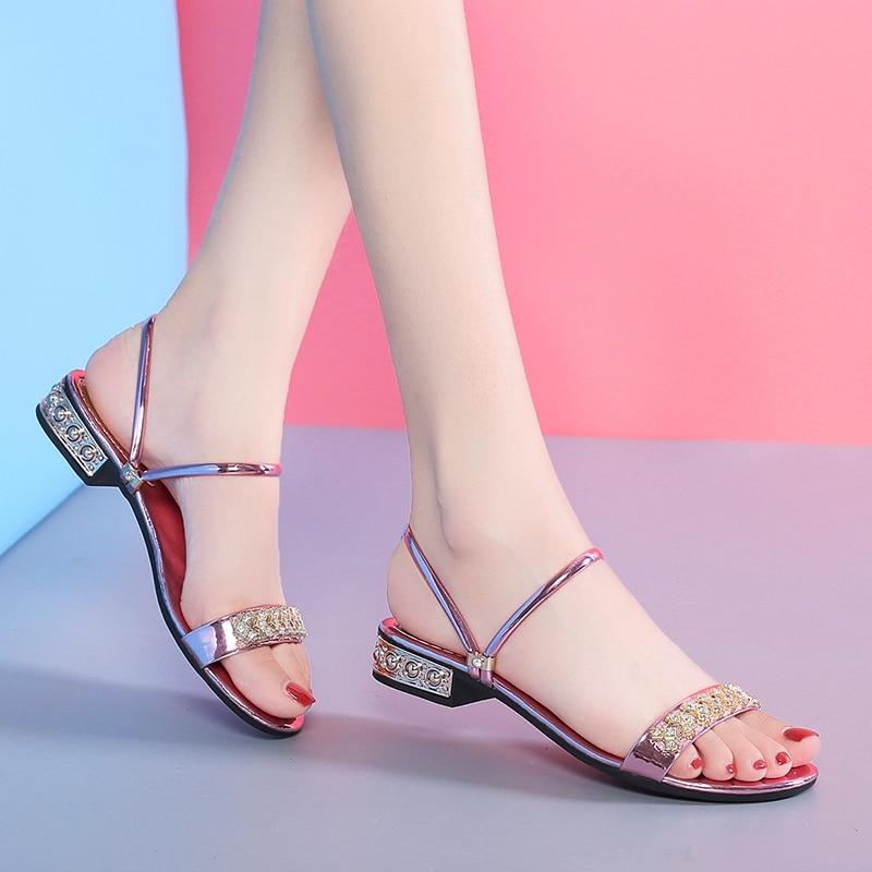Sandálias de Verão para Mulheres Deslizamento em Sandálias Bling Bombas Sapatos Conforto Senhoras Mulher Sandália Ouro Prata Salto Alto Calçados Femininos Que