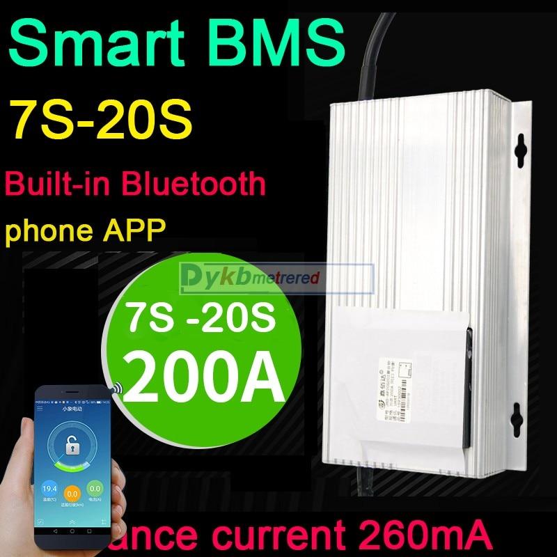 Smart bms 7s-20s 200a lifepo4 li-ion lítio placa de proteção equilíbrio bluetooth app 24v 48v 60v 72v 16s 8s 12s 14s 3.2v 3.7v