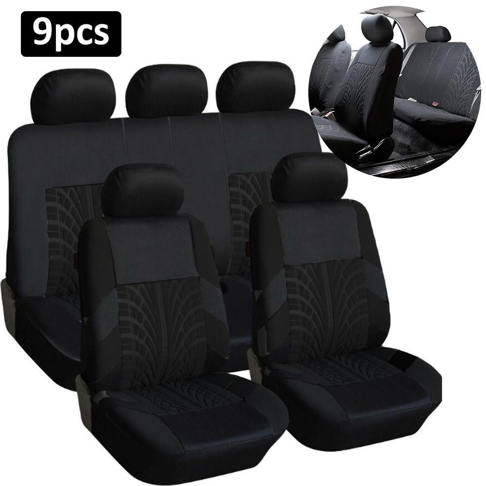 Универсальный комплект чехлов на передние и задние сиденья автомобиля, защитные чехлы с вышивкой для автомобильного стайлинга, с...