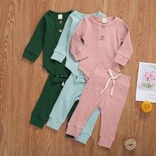2 pièces ensemble nouveau-né bébé tenues mode coton décontracté à manches longues côtelé combinaison + à lacets pantalon enfant en bas âge filles garçons costume