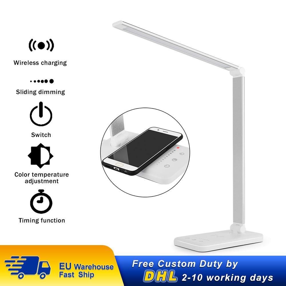 Lámpara LED de escritorio con cargador inalámbrico, lámpara de mesa con 5 modos de Control táctil y temporizador automático