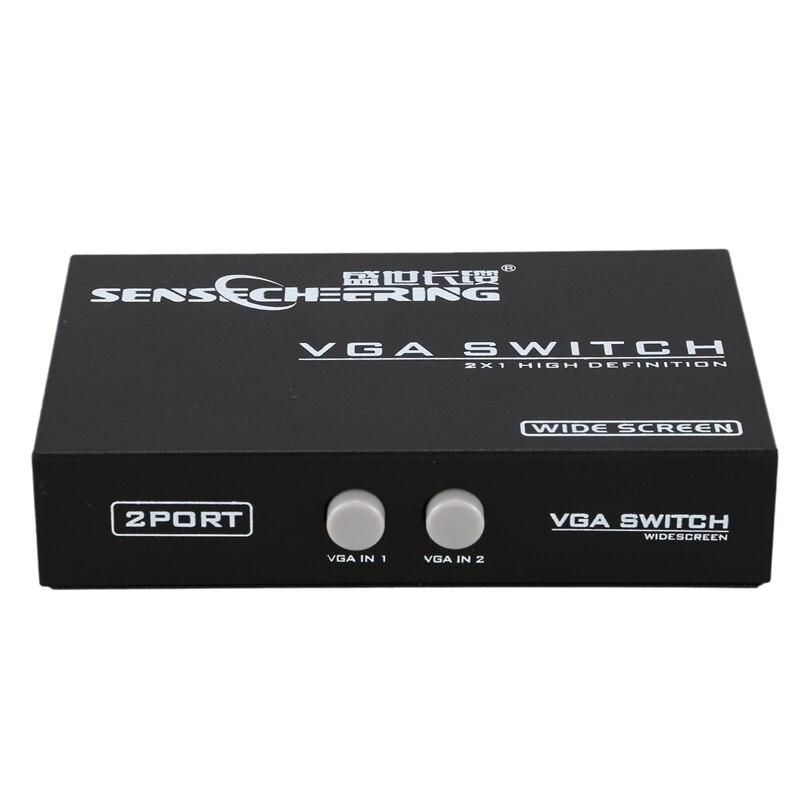 Interruptor de FULL-VGA 2X1 FHD 1080P @ 60Hz 2 VGA señal en 1 VGA salida de señal VGA 2x1 caja de interruptor para HDTV PC ordenador Laptop Monitor
