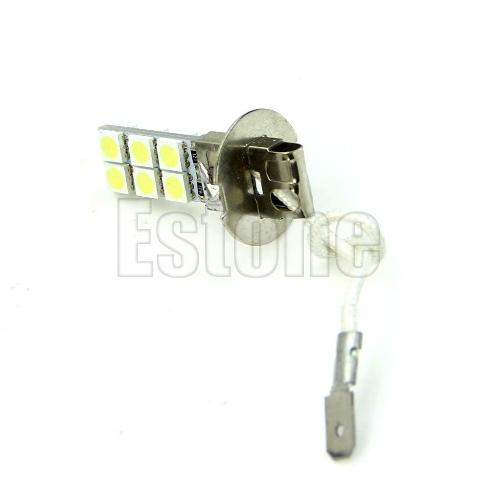 H3 12-LED 5050 lampadina testa di SMD 12V bianco luminoso della nebbia...