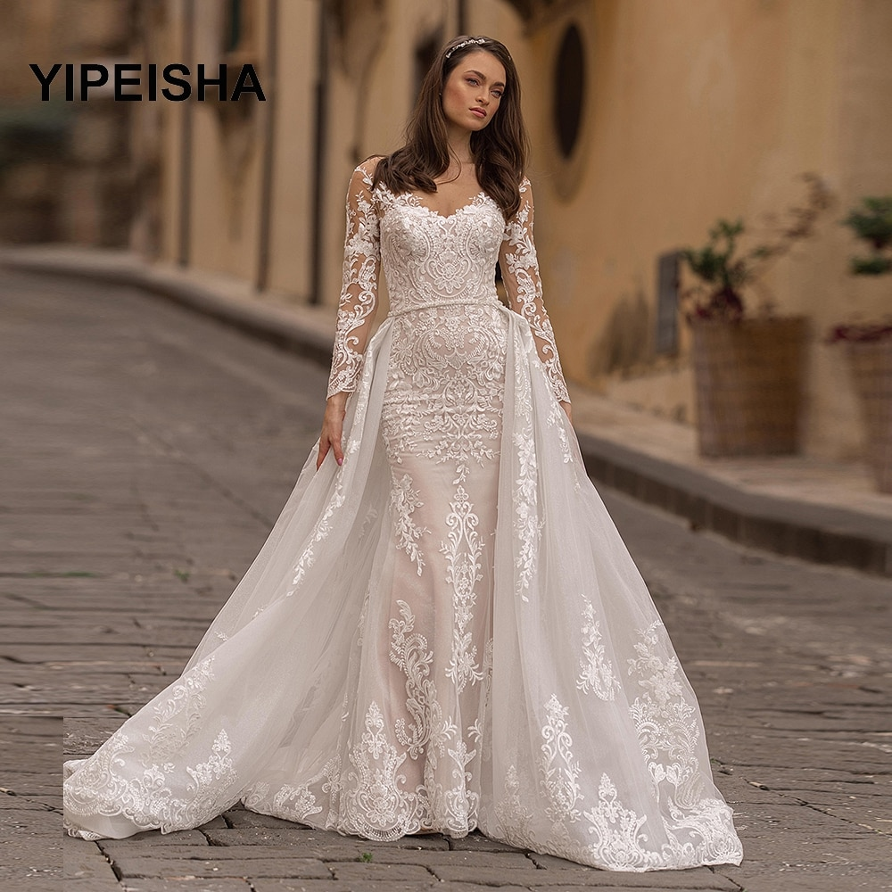 Review Wedding Dress 2021 Full Sleeves  Mermaid Bridal Gowns With Detachable Train Vestidos de novia Lace Backless