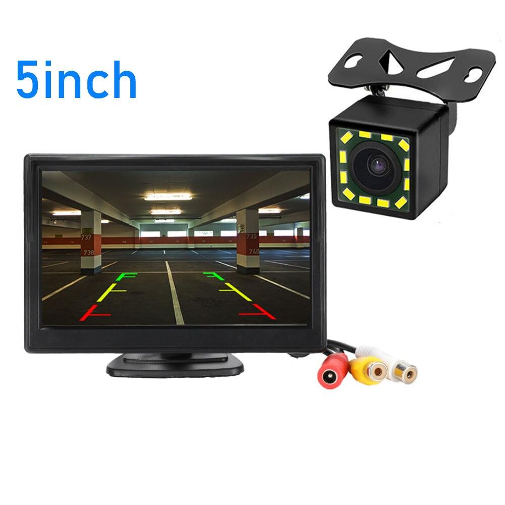 "Cámara de visión trasera del coche Kit de sistema de aparcamiento de marcha atrás 4,3 5 ""pulgadas TFT LCD Monitor retrovisor impermeable cámara de respaldo de visión nocturna"