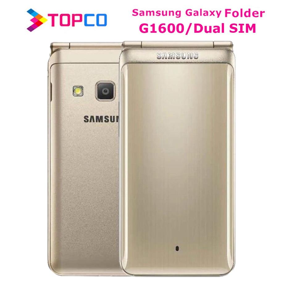 "Original Samsung Galaxy Folder G1600 Dual SIM 16GB ROM 2GB RAM Quad Core 8.0MP&5MP 3.8"" Flip SmartPhone 4G LTE Mobile Phone"