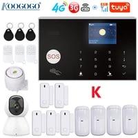 Kit systeme dalarme de securite domestique sans fil  wi-fi 4G 3G  433MHz  avec camera IP PTZ 1080P  babyphone video  anti-cambriolage  controle avec application Tuya