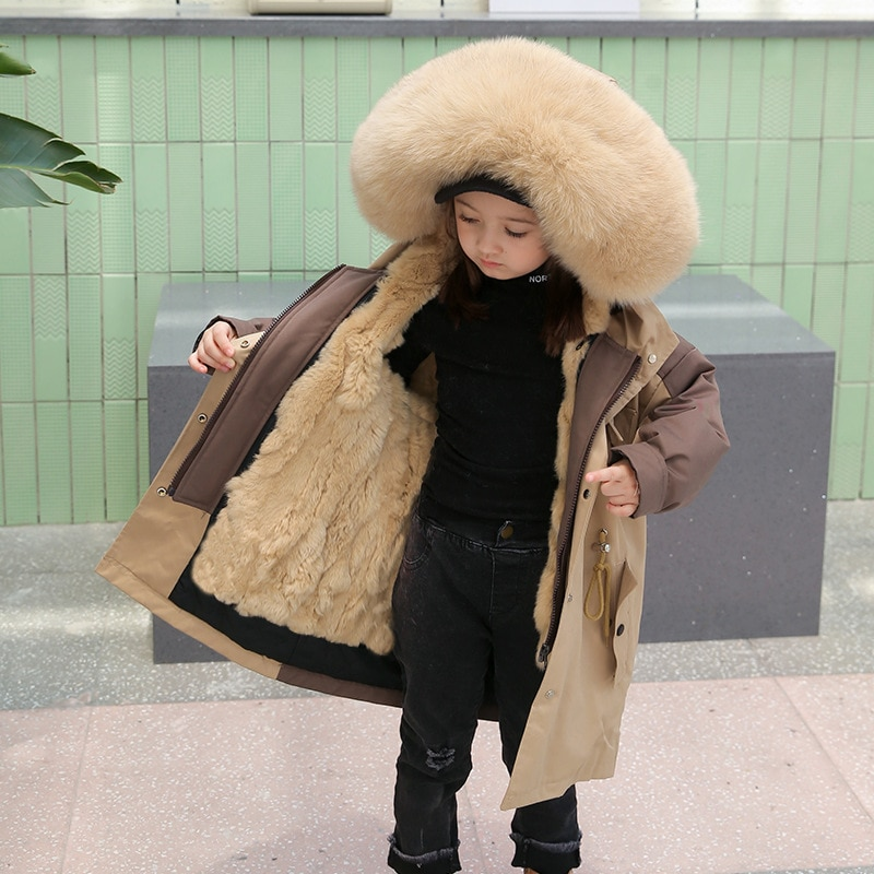 2020 Winter Kids Boys And Girls Real Rabbit Fur Liner With Natural Fox Fur Collar Parkas New Children Warm Coat Outerwear W902