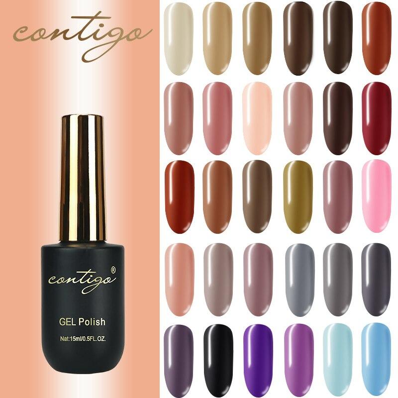CONTIGO Гель-лак для ногтей Перманентный для ногтей УФ-лак Гибридный геллак 15 мл маникюрный лак 60 цветов краска гель для ногтей