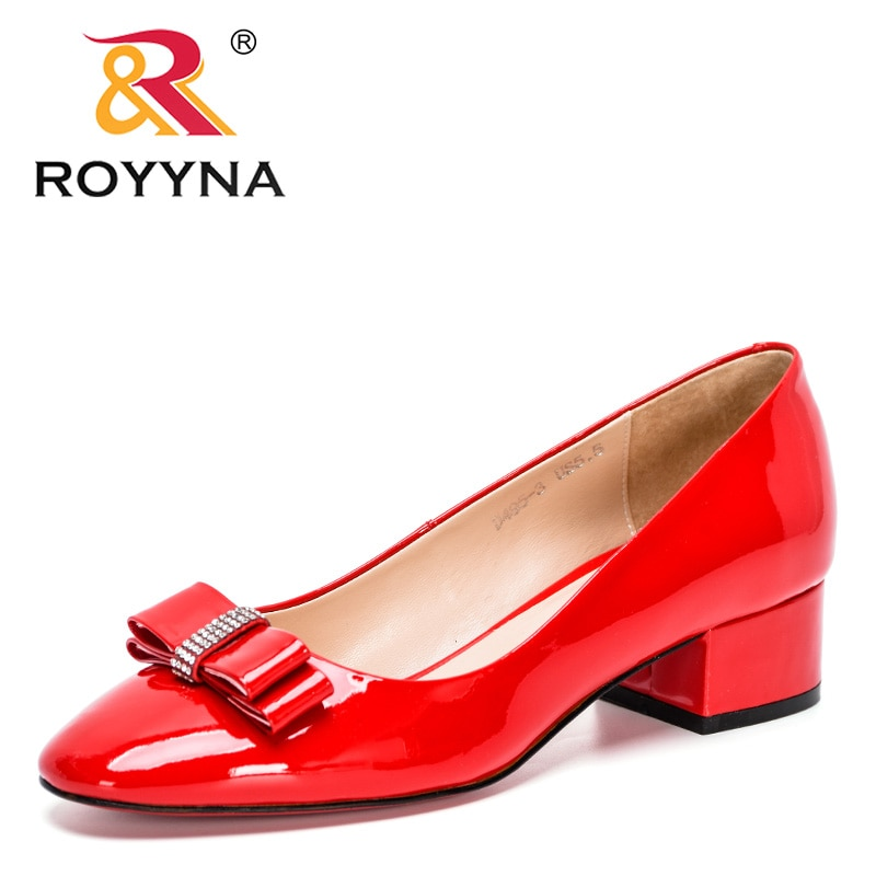 AliExpress - ROYYNA 2021 New Designers Geniune Leather Fashion Pumps Ladies Heels Round Toe Pumps Women Shallow Slip On Office Work Shoes