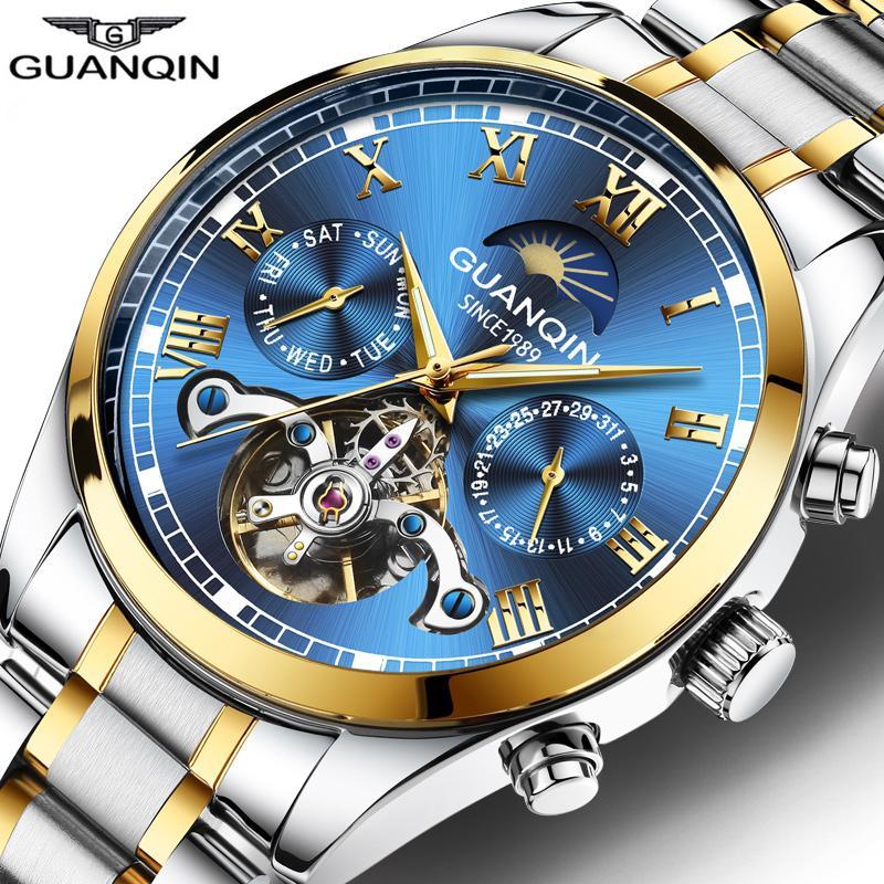 Guanqin الأعمال ووتش الرجال التلقائي الميكانيكية توربيون أزرق ووتش رجل مضيئة التقويم تاريخ ساعة Relogio Masculino