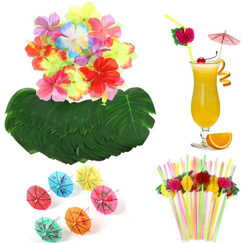 108 Uds suministros de fiesta planta de simulación tortuga hoja hibisco paraguas de cóctel pajita Decoración de mesa de boda