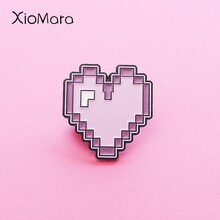 Retro Pixel Purple Heart Enamel Pin Cute Funy Backpack Hats Accessories Enamel Brooches Pins For Friends
