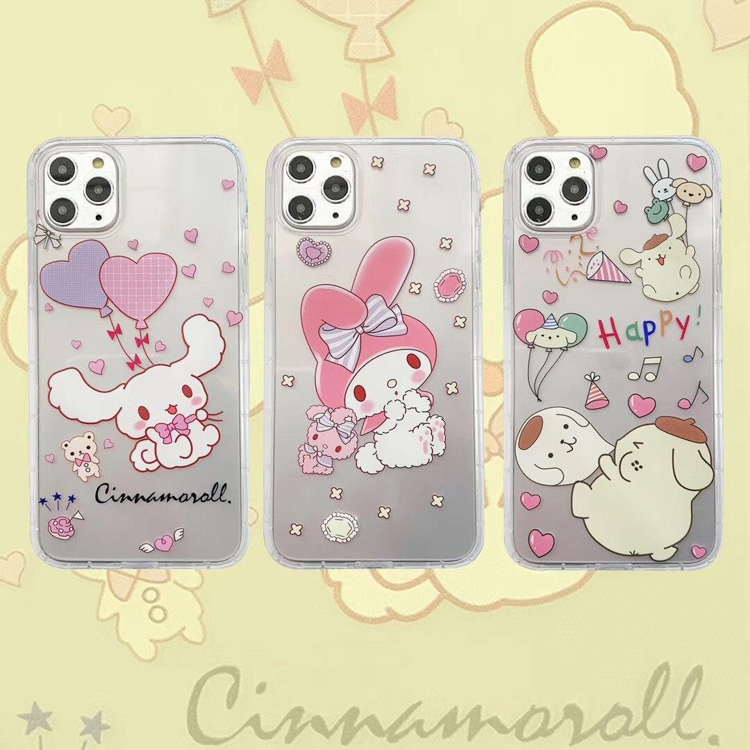 Funda de teléfono linda de dibujos animados Happy My Melody Cinnamoroll para iPhone 11 Pro X XS Max XR 7 8 Plus chicas suave funda de silicona transparente