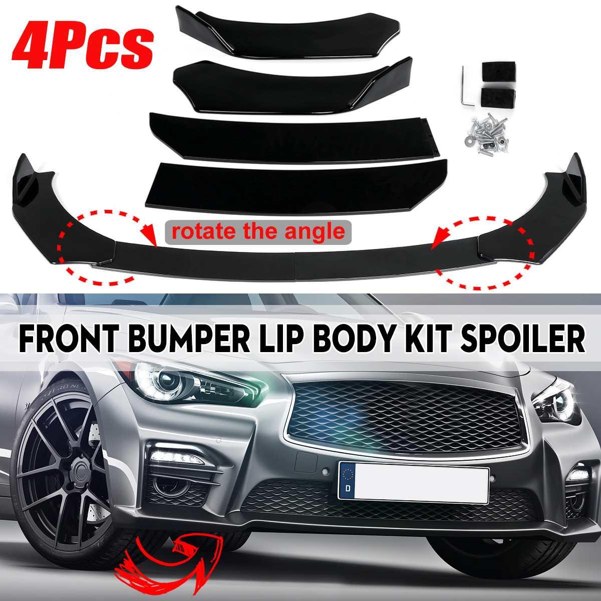 Universal 4PC auto separador de parachoques delantero Spoiler guardia difusor para Infiniti Q50 Q60 Q70 G25 G37 para Benz W205 W204 W203 W211