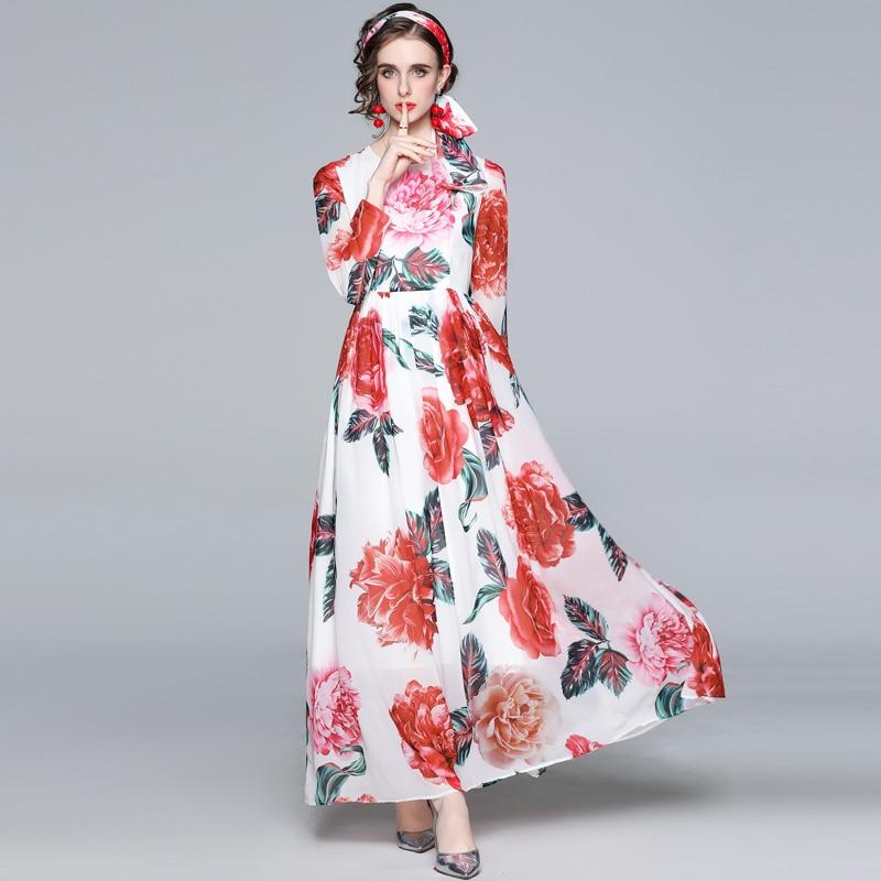 ZUOMAN Women Spring Elegant Floral Chiffon Dress Festa High Quality Long Maxi Party Robe Femme Vinta