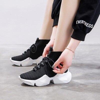 2019 net red zapatos de marea de las mujeres zapatos de malla calcetines transpirables zapatos versión coreana de la tendencia de los deportes salvajes zapatillas para correr
