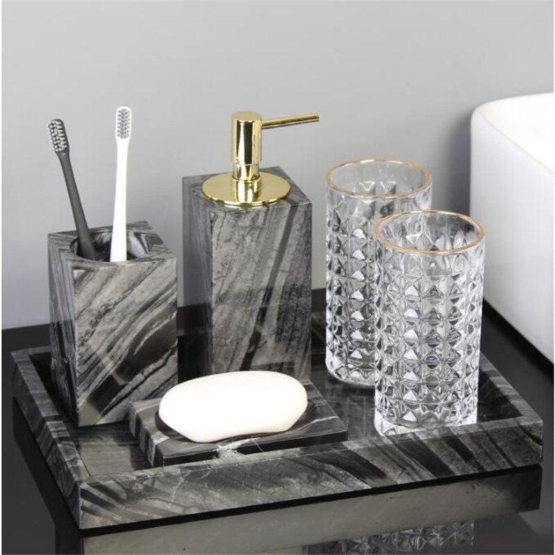 Tuqiu Bathroom Accessories Set Marble Soap Dispenser Tooth Brush Holder Cotton Swab Box Luxury Bathroom Hardware Set
