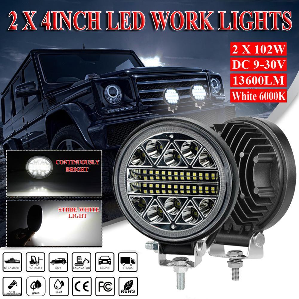 2Pcs 4 inch 204W 13600LM LED Work Light Offroad Car 4WD Truck Tractor Boat Trailer 4x4 ATV SUV 12 24V Spot Flood LED Driving Li