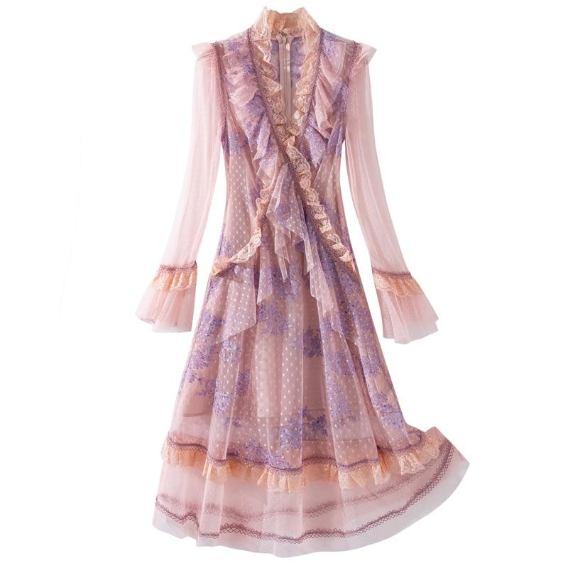 2021 spring new lace V-neck wave point irregular Dress women long  flare sleeve dresses female elegant casual Ruffle dress