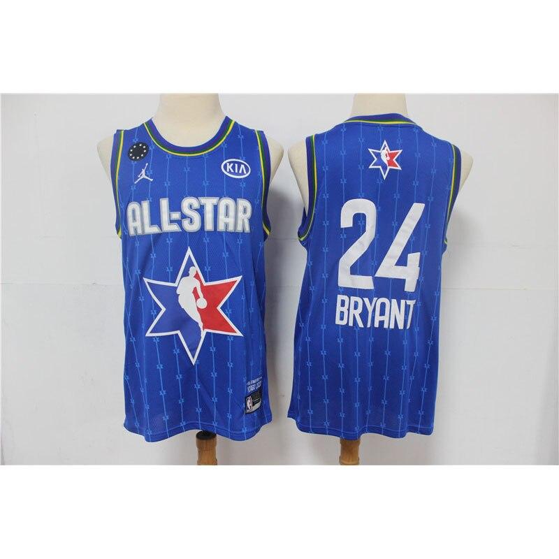 Kobe Bryant-Camiseta de baloncesto de estrellas... ropa de punto azul cuello redondo...