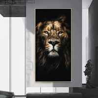 modern black animal print canvas painting king of the forest lions posters wall art prints decoration pictures for living room